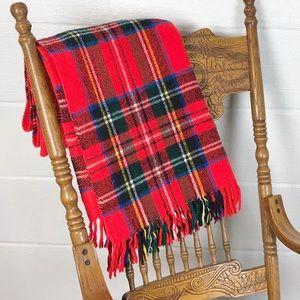 Vintage plaid blanket Christmas throw Winter